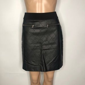 Ann Taylor Petite Faux Leather A line Skirt